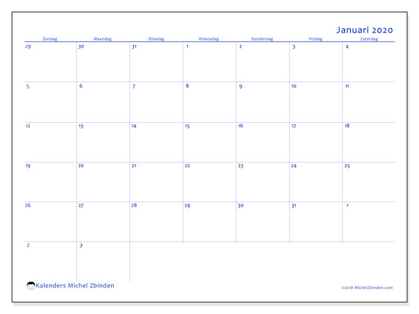 Kalender januari 2020, 73ZZ. Maandkalender om gratis te printen.