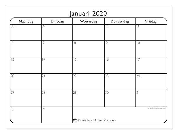 Kalender januari 2020, 74MV. Kalender om gratis te printen.