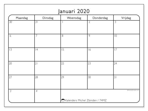 Kalender januari 2020, 74MZ. Kalender voor de maand die gratis moet worden afgedrukt.