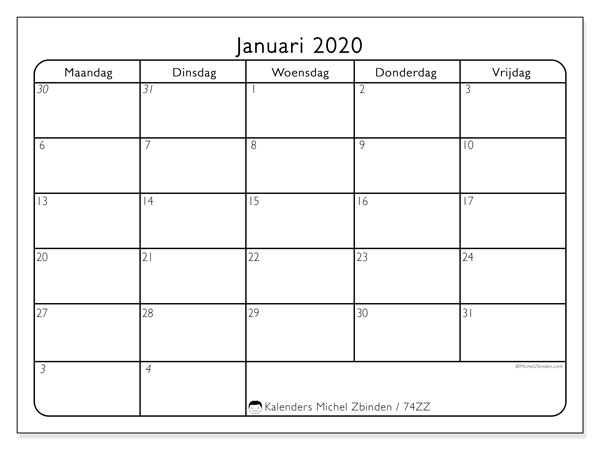 Kalender januari 2020, 74ZZ. Schema om gratis te printen.