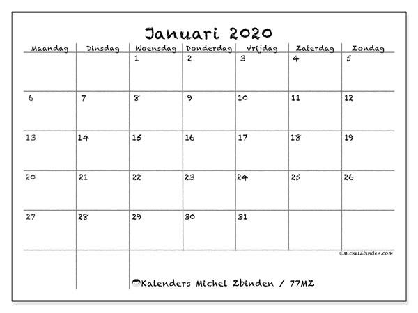 Kalender januari 2020, 77MZ. Schema om gratis te printen.