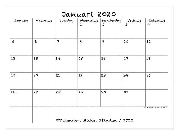 Kalender januari 2020, 77ZZ. Kalender om gratis af te drukken.
