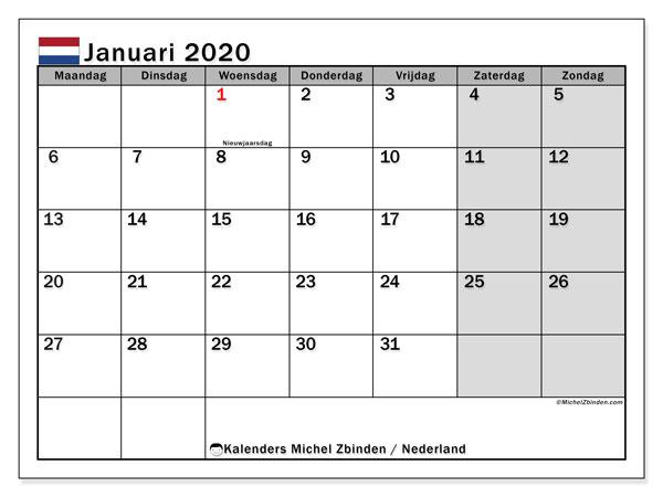 Kalender januari 2020 met de feestdagen van Nederland. Schema om gratis te printen.