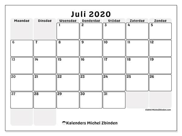 Kalender juli 2020, 44MZ. Kalender voor de maand die gratis moet worden afgedrukt.