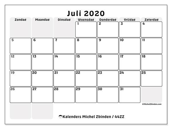 Kalender juli 2020, 44ZZ. Kalender om gratis te printen.