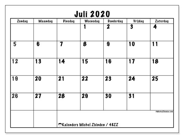Kalender juli 2020, 48ZZ. Gratis kalender om af te drukken.