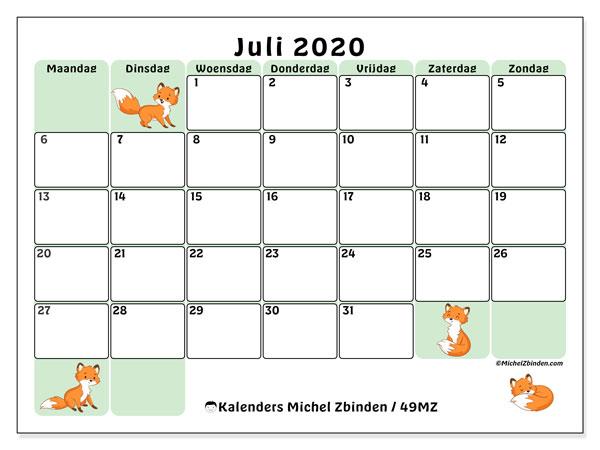 Kalender juli 2020, 49MZ. Kalender voor de maand die gratis moet worden afgedrukt.