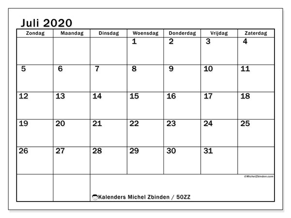 Kalender juli 2020, 50ZZ. Maandkalender om gratis te printen.