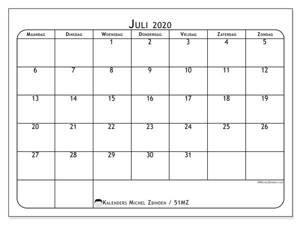 Kalender juli 2020, 51MZ. Kalender om gratis af te drukken.