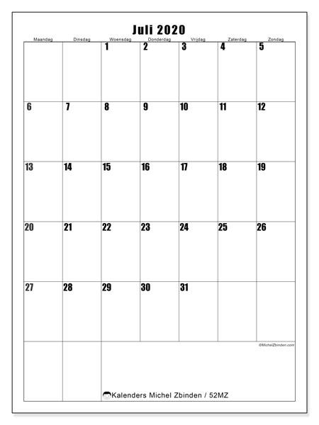 Kalender juli 2020, 52MZ. Kalender om gratis af te drukken.