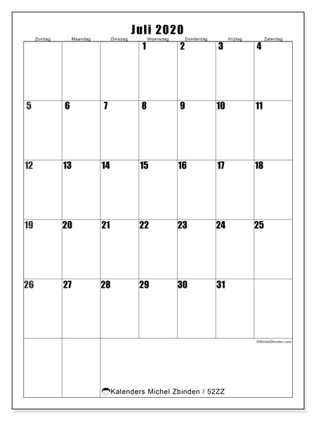 Kalender juli 2020, 52ZZ. Schema om gratis te printen.