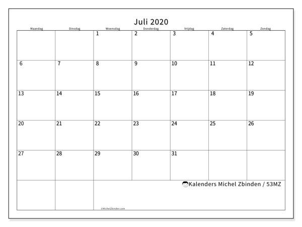 Kalender juli 2020, 53MZ. Kalender voor de maand die gratis moet worden afgedrukt.
