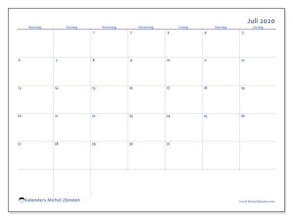 Kalender juli 2020, 55MZ. Schema om gratis te printen.