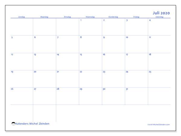 Kalender juli 2020, 55ZZ. Kalender voor de maand die gratis moet worden afgedrukt.