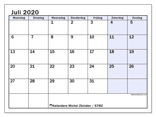 Kalender juli 2020, 57MZ. Kalender om gratis te printen.
