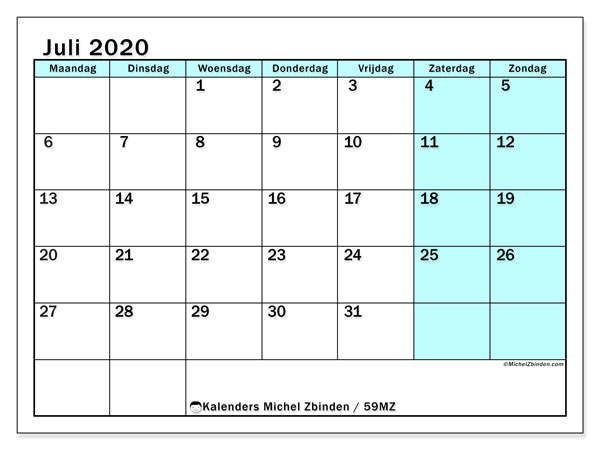 Kalender juli 2020, 59MZ. Maandkalender om gratis te printen.