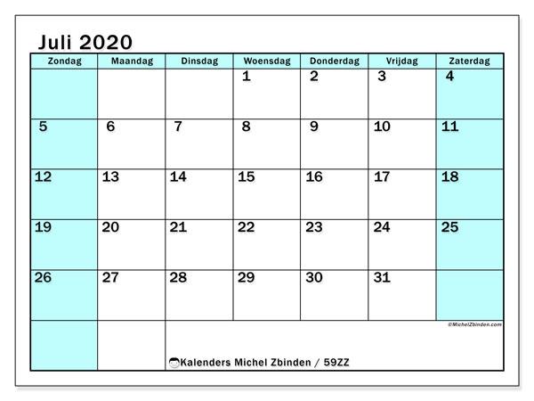 Kalender juli 2020, 59ZZ. Gratis printbare kalender.