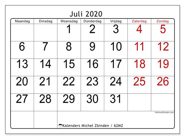 Kalender juli 2020, 62MZ. Kalender voor de maand die gratis moet worden afgedrukt.