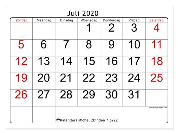 Kalender juli 2020, 62ZZ. Gratis kalender om af te drukken.