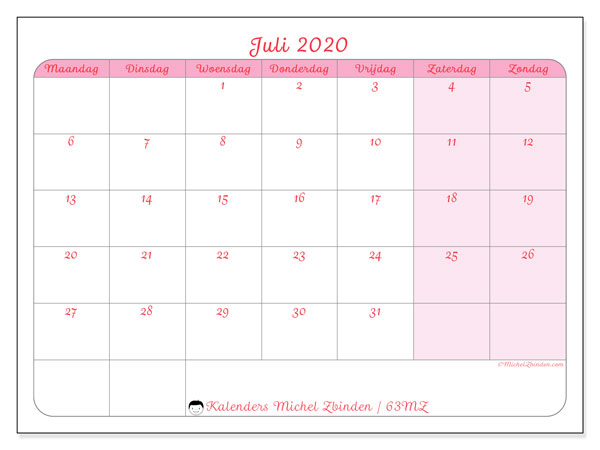 Kalender juli 2020, 63MZ. Agenda om gratis te printen.