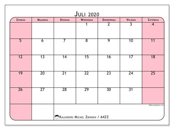 Kalender juli 2020, 64ZZ. Gratis kalender om af te drukken.