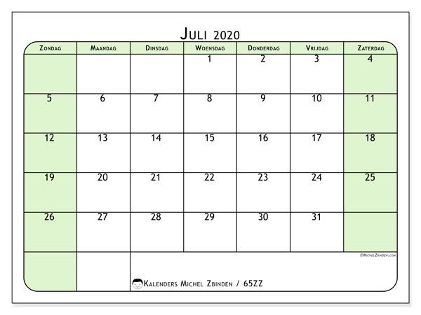Kalender juli 2020, 65ZZ. Gratis afdrukbare kalender.