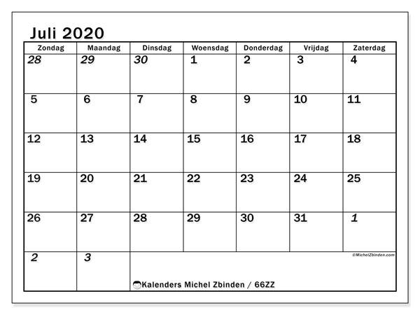 Kalender juli 2020, 66ZZ. Kalender om gratis te printen.