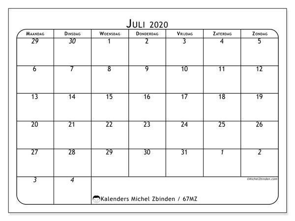 Kalender juli 2020, 67MZ. Maandkalender om gratis te printen.