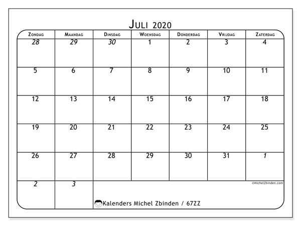 Kalender juli 2020, 67ZZ. Kalender om gratis te printen.