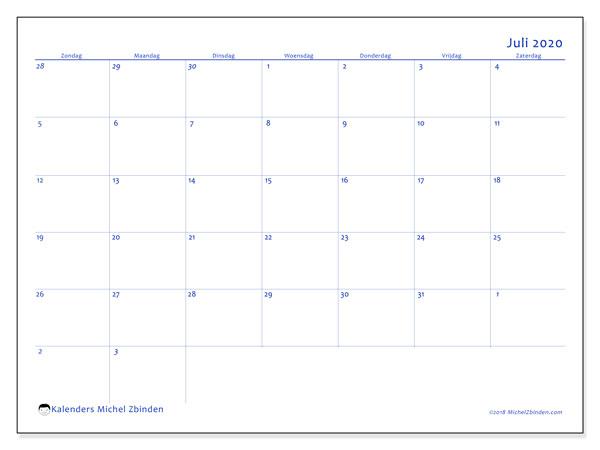 Kalender juli 2020, 73ZZ. Kalender om gratis te printen.