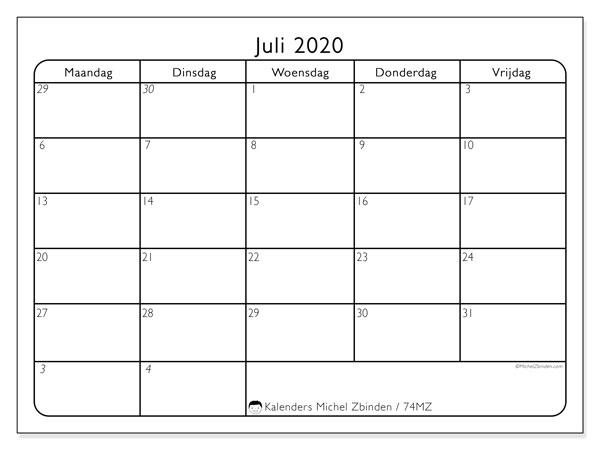 Kalender juli 2020, 74MZ. Gratis printbare kalender.