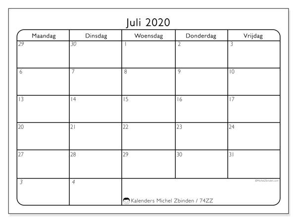 Kalender juli 2020, 74ZZ. Kalender om gratis af te drukken.