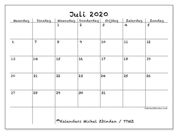 Kalender juli 2020, 77MZ. Gratis afdrukbare kalender.