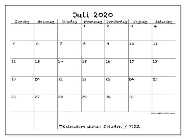 Kalender juli 2020, 77ZZ. Gratis afdrukbare kalender.