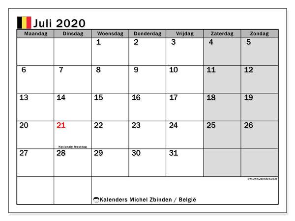 Kalender juli 2020 met de feestdagen van België. Gratis afdrukbare kalender.