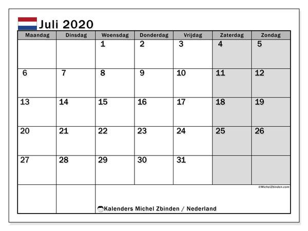 Kalender juli 2020, met feestdagen in Nederland. Kalender feestdagen om gratis te printen.