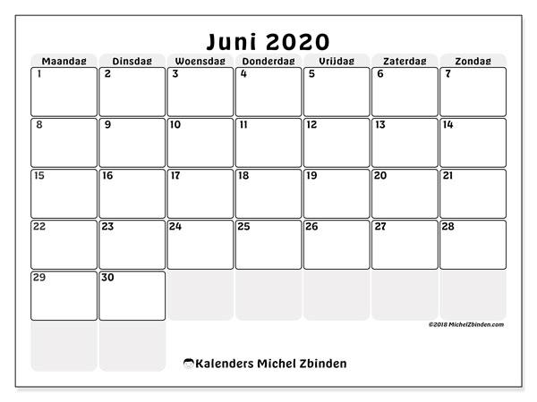 Kalender juni 2020, 44MZ. Kalender om gratis af te drukken.