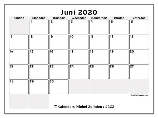 Kalender juni 2020, 44ZZ. Gratis kalender om af te drukken.