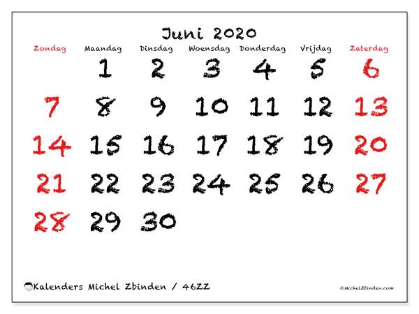 Kalender juni 2020, 46ZZ. Schema om gratis te printen.
