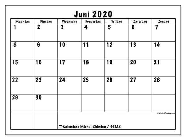 Kalender juni 2020, 48MZ. Kalender voor de maand die gratis moet worden afgedrukt.