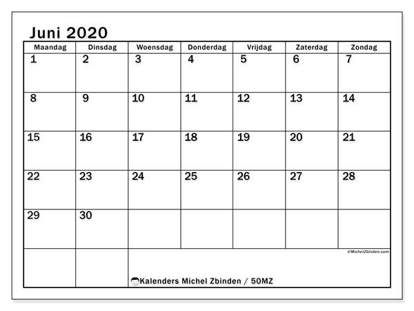 Kalender juni 2020, 50MZ. Gratis kalender om af te drukken.