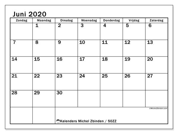 Kalender juni 2020, 50ZZ. Schema om gratis te printen.