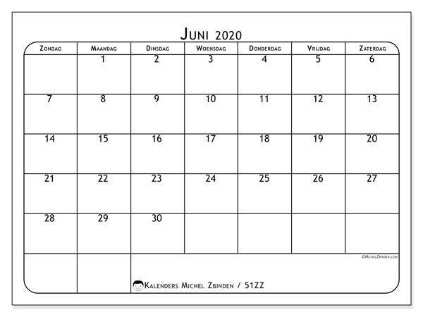 Kalender juni 2020, 51ZZ. Gratis afdrukbare kalender.