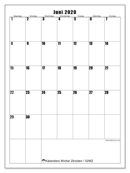 Kalender juni 2020, 52MZ. Gratis kalender om af te drukken.