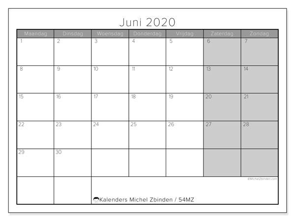 Kalender juni 2020, 54MZ. Kalender voor de maand die gratis moet worden afgedrukt.
