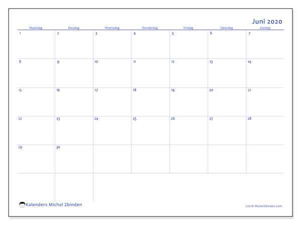 Kalender juni 2020, 55MZ. Schema om gratis te printen.
