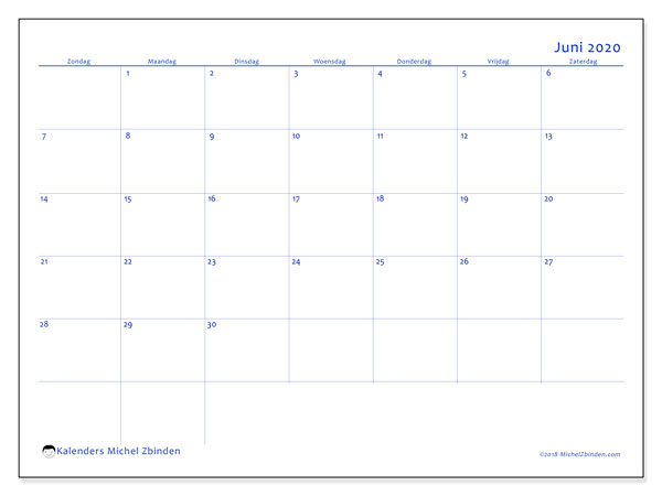 Kalender juni 2020, 55ZZ. Kalender om gratis te printen.