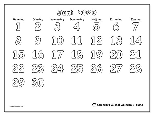 Kalender juni 2020, 56MZ. Gratis kalender om af te drukken.