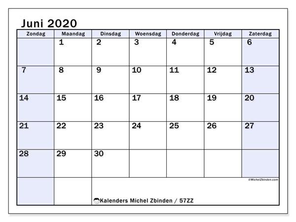 Kalender juni 2020, 57ZZ. Schema om gratis te printen.