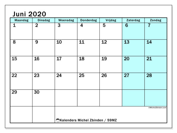 Kalender juni 2020, 59MZ. Schema om gratis te printen.